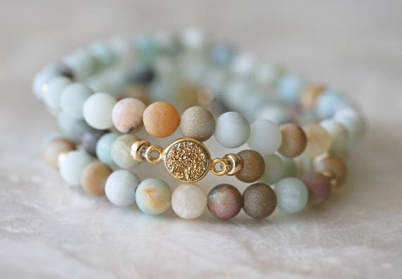 Druzy Bracelet, Amazonite Bracelet, Stretch Bracelet, Stacking Bracelet, Beaded Bracelet, Layered Bracelet, Bracelet Set