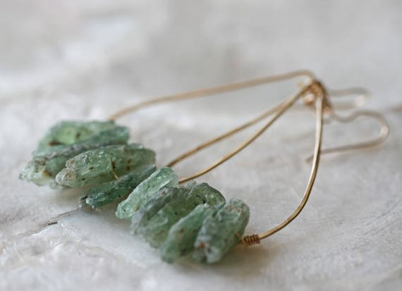 Raw Crystal Earrings, Green Kyanite Earrings, Hoop Earrings, Crystal Point Earrings