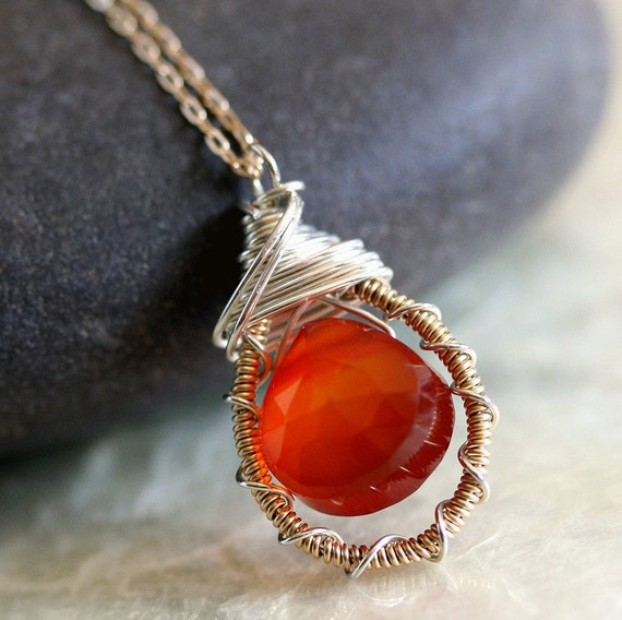 Red Stone Necklace- Chalcedony - Wire Wrapped Pendant