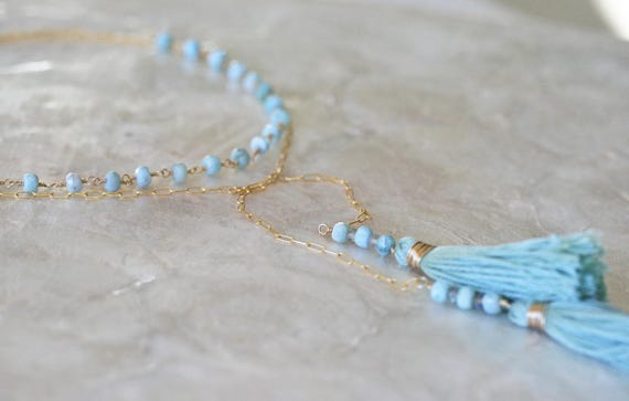 Wrap Necklace, Larimar Necklace, Tassel Necklace, Boho Necklace, Long Wrap Necklace, Light Blue Necklace