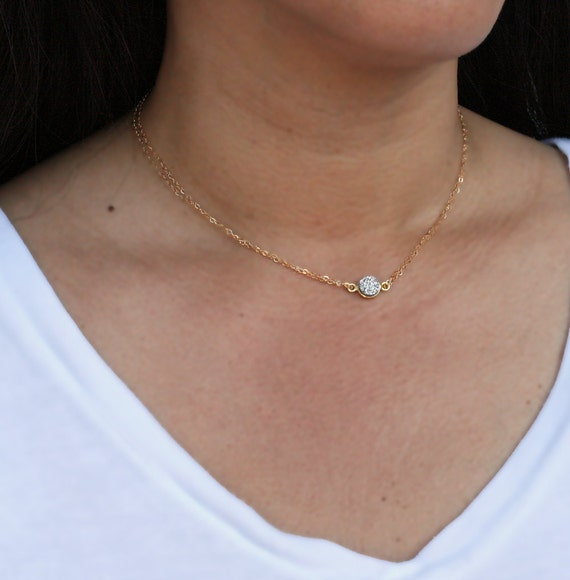 Tiny Silver Druzy Necklace with 14k Gold Filled Chain