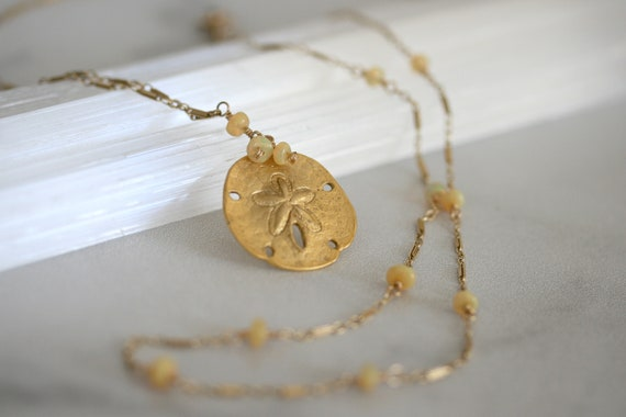Sand Dollar Necklace, Opal Necklace, Gold Necklace, Double Strand Necklace, Layering Necklace, Gold Pendant Necklace, Gold Layered Necklace
