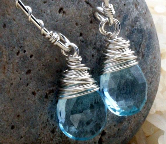 Sky Blue Topaz Open Hoop Earrings in 14k Gold Filled or Sterling Silver