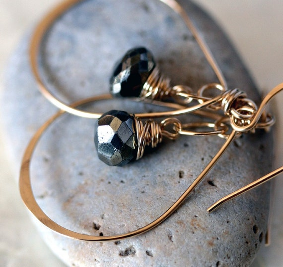 Hoop Earrings with Pyrite