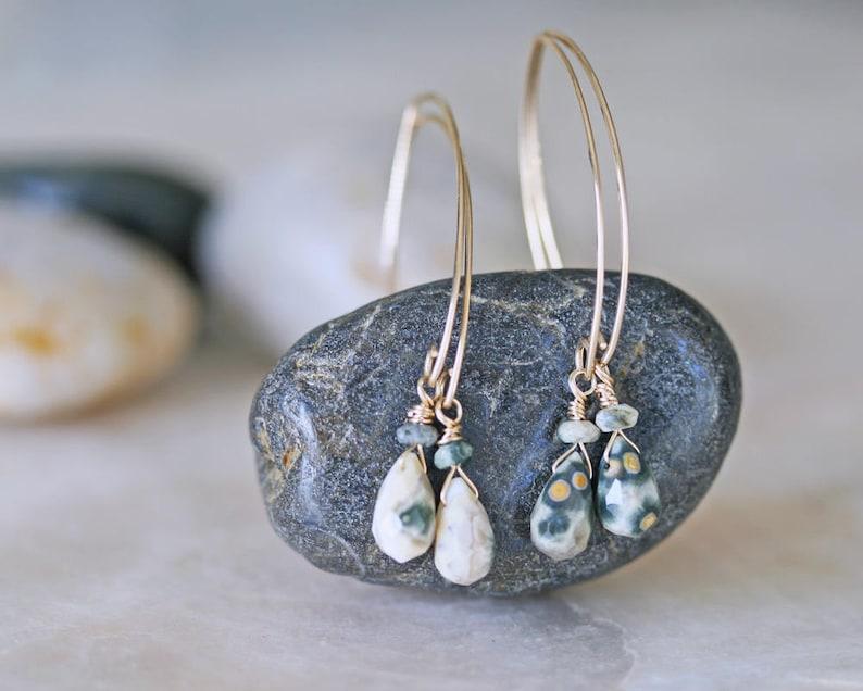 Ocean Jasper Earrings Drop Earrings Natural Stone Earrings image 0