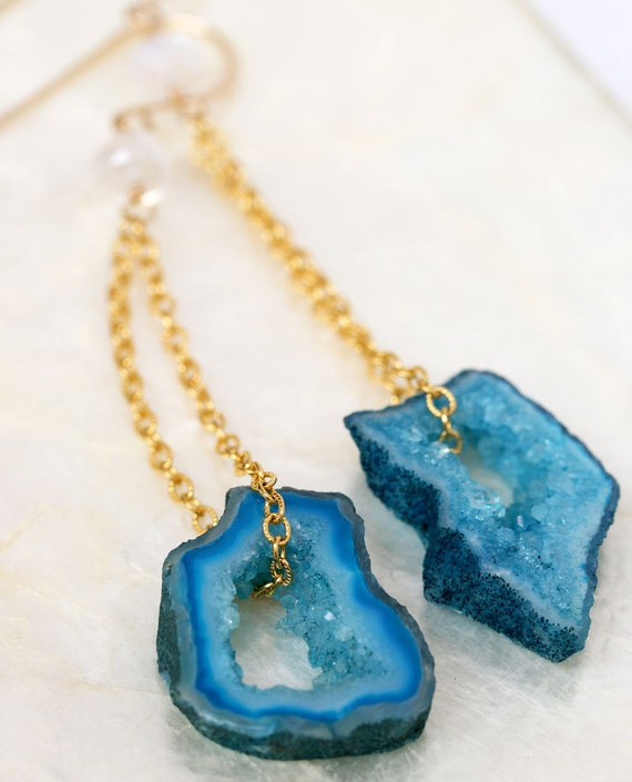 Geode Earrings, Druzy Earrings, Geode Slice Earrings, Blue Druzy Earrings, Geode Jewelry, Agate Slice Earrings, Dangle Earrings
