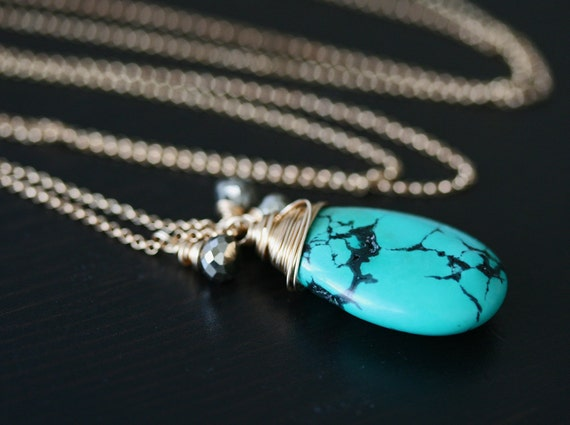 Long Turquoise and Gold Pendant Necklace