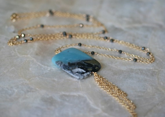 Long Jasper Necklace with Gold Accents