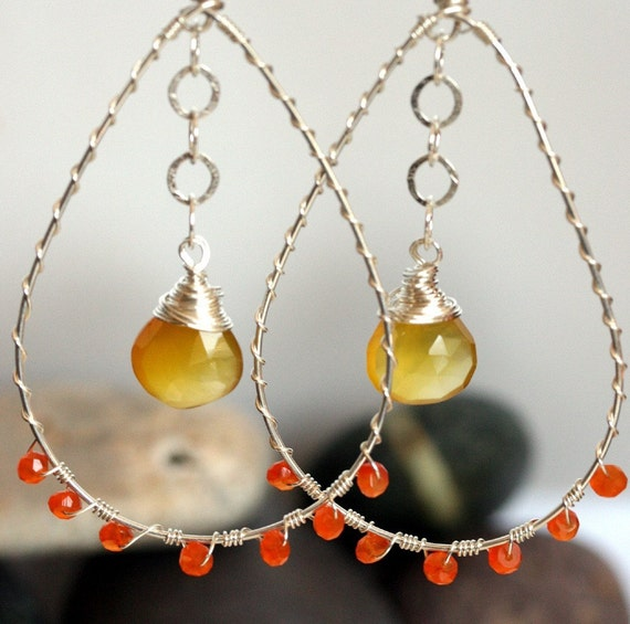 Sterling Silver Hoop Earrings - Yellow Chalcedony Earrings - Orange Carnelian Earrings - Chalcedony Jewelry