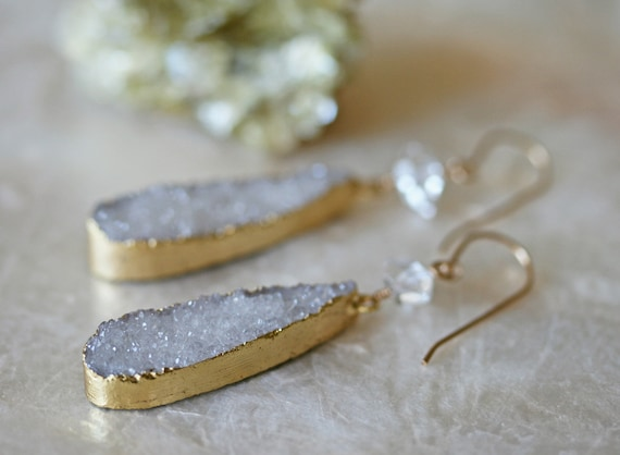 White Druzy and Herkimer Diamond Earrings