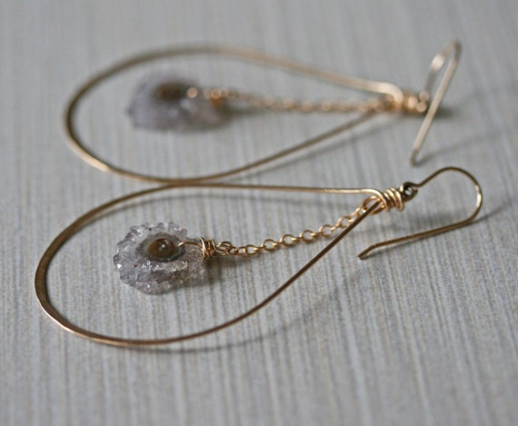 Amethyst Stalactite Hoop Earrings