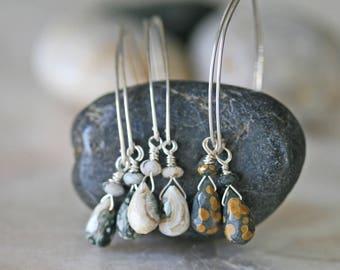 Jasper Dangle Earrings, Silver Earrings, Ocean Jasper Earrings, Green Jasper Earrings, Cream Jasper Earrings, Small Earrings, Spotted Jasper