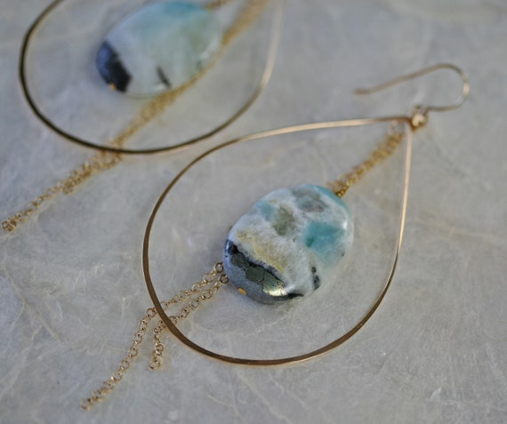 Big Hoop Earrings with Jasper, Gold Hoop Earrings with Stone, Jasper Earrings, Hoop Earrings with Blue Stone, Hammered Hoop Earrings