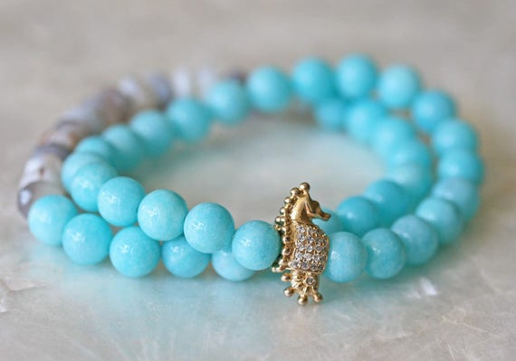 Blue Amazonite Stretch Bracelets with Seahorse Charm