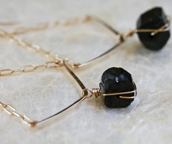 Raw Black Tourmaline Chevron Earrings