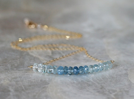 Ombre Blue Aquamarine Bar Necklace with 14k Gold Filled Chain, March Birthstone Necklace