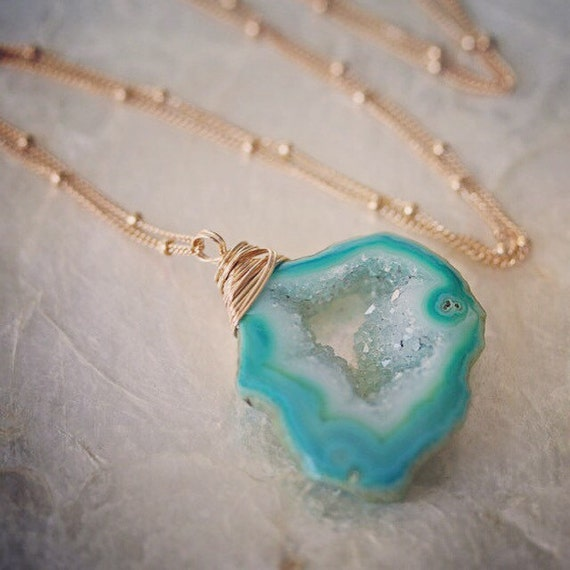 Green Druzy Geode Necklace on Satellite Chain