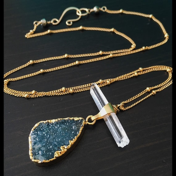 Druzy and Crystal Point Necklace