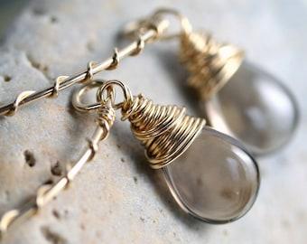 Smoky Quartz Earrings,  Brown Stone Earrings, Simple Earrings, Neutral Earrings, Drop Earrings, Small Earrings