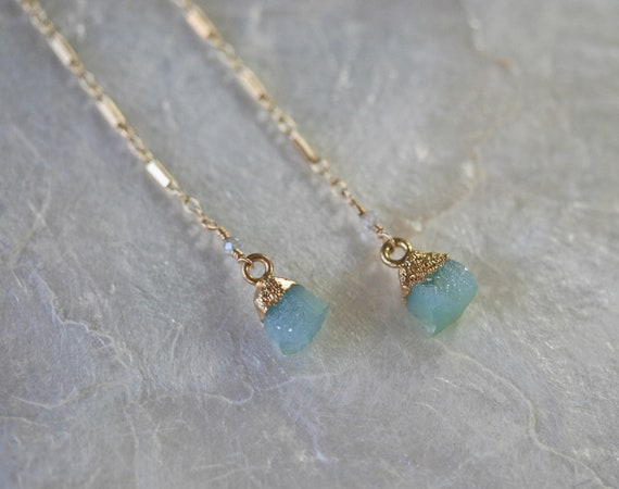 Long Baby Blue  Druzy Earrings