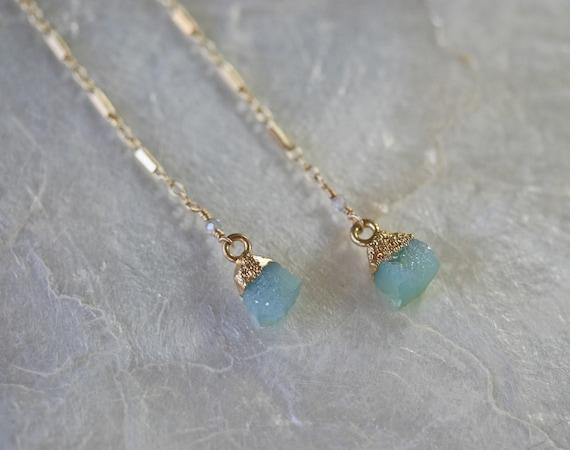 Long Baby Blue  Druzy Earrings