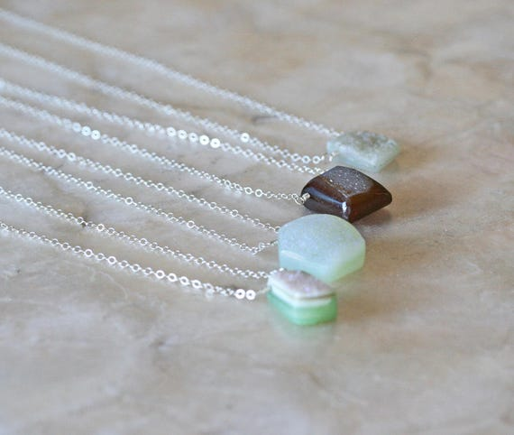 Simple Druzy Necklace on Sterling Silver Chain