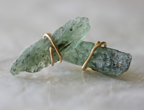 Raw Crystal Earrings, Green Kyanite Earrings, Stud Earrings, Tiny Earrings, Crystal Point Earrings