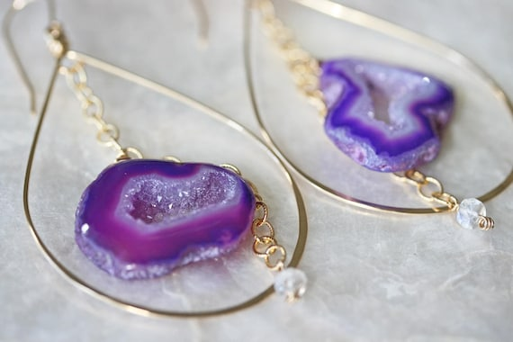 Geode Earrings, Purple Geode Earrings, Druzy Earrings, Hoop Earrings, Druzy Hoop Earrings, Purple Earrings, Moonstone Earrings