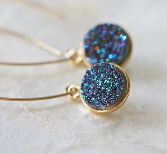 Druzy Earrings, Drusy Earrings, Open Hoop Earrings,  Long Druzy Earrings, Blue Green Druzy Earrings, Dangle Earrings