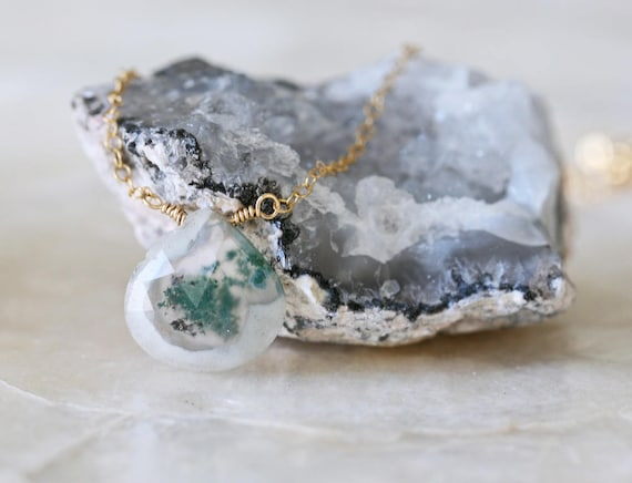 Quartz Pendant with Green Inclusions on Simple Gold Chain