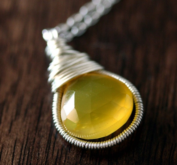 Yellow Chalcedony Briolette Necklace