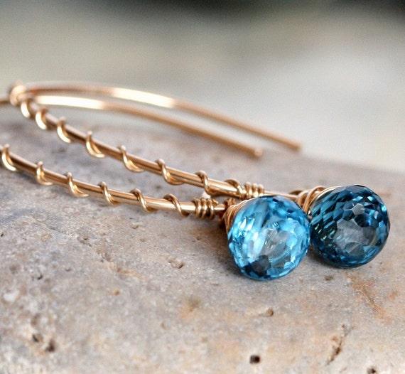 London Blue Topaz Earrings - Topaz Earrings - Briolette Earring - Topaz and Gold