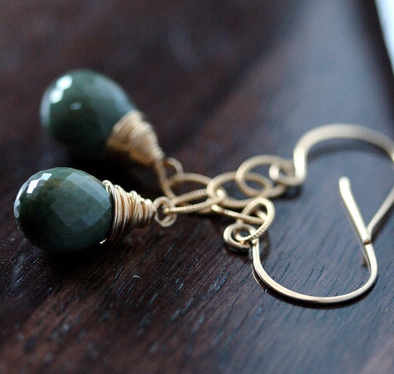 Green Cats Eye Briolette Earrings