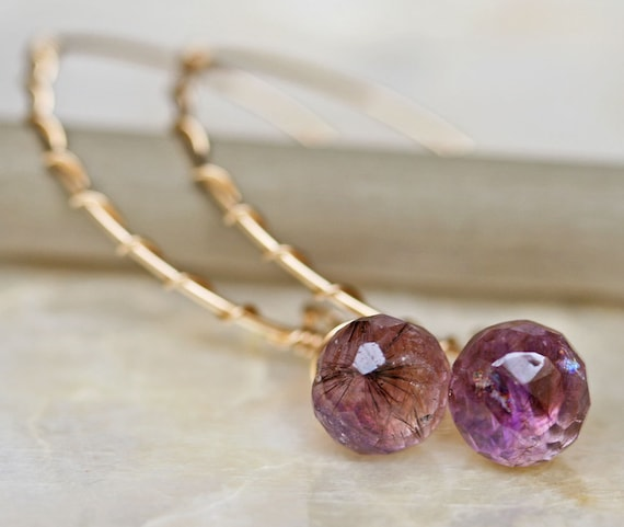 Amethyst Earrings - Moss Amethyst Earrings - Gold and Amethyst Earrings