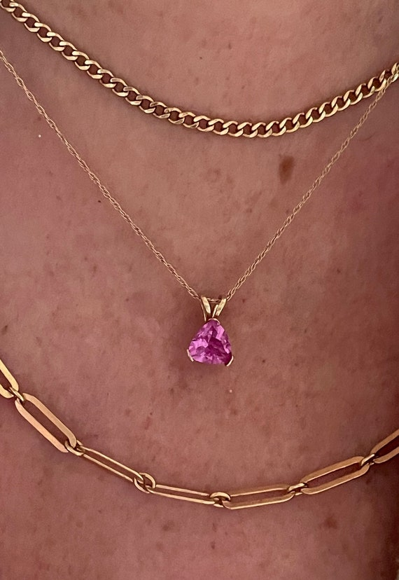 10k Solid Yellow Gold Pink Trillion Pendant