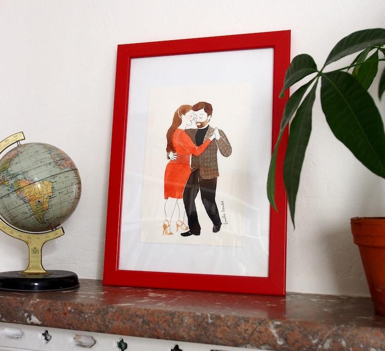 Abrazos ilustrados  custom portraits for tango dancers  Papier - 14,8x21 cm