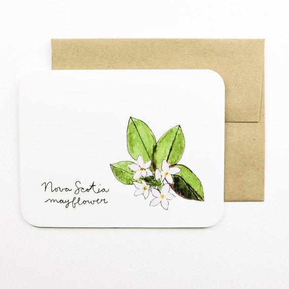 Nueva Escocia Mayflower Flores de la tarjeta con sobre las | Etsy