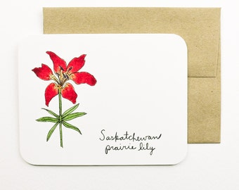 Saskatchewan | Prairie lily | Flowers of the Provinces and Territories card with envelope | Canadian flowers | Greeting card