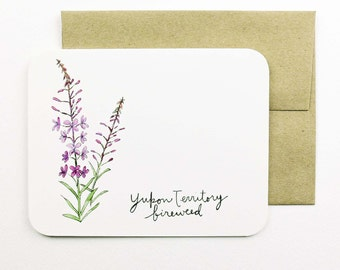 Yukon Territory | Fireweed | Flowers of the Provinces and Territories card with envelope | Canadian flowers | Greeting card