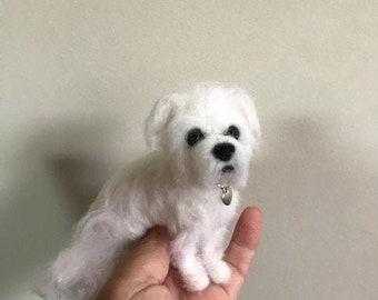 Maltese Shih Tzu custom felted dog personalized any breed