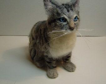 Custom felted Cat Portrait felted animal sculpture pet memorial