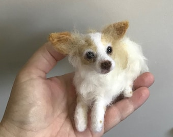 Realistic felted custom Dog sculpture any breed pet replica