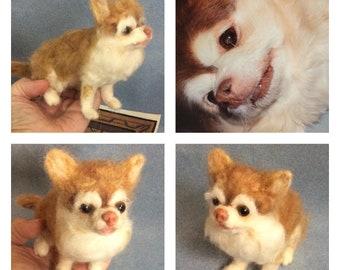 Personalized custom Chihuahua felted pet replica sculpture