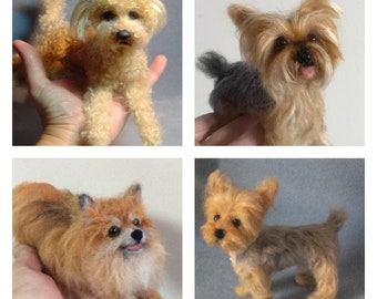 Custom needle felted dog replica personalized animal art