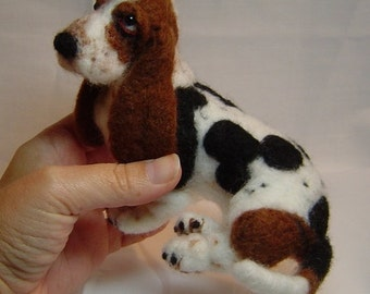 Felted dog custom sculpture Basset Hound pet portrait art made to order pets memorial