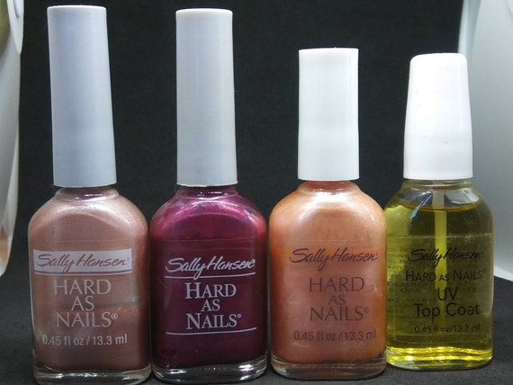 Vintage Nail Polish used Sally Hansen Hard As Nails 4400-85 Shimmering  Lilac Frost 4400-17 very berry frost 22 Tough Frost 4400Q-33