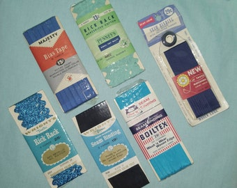 Vintage sewing notions rick rack bias tape seam binding majestic wright's trimtex boiltex JCPenney's thread