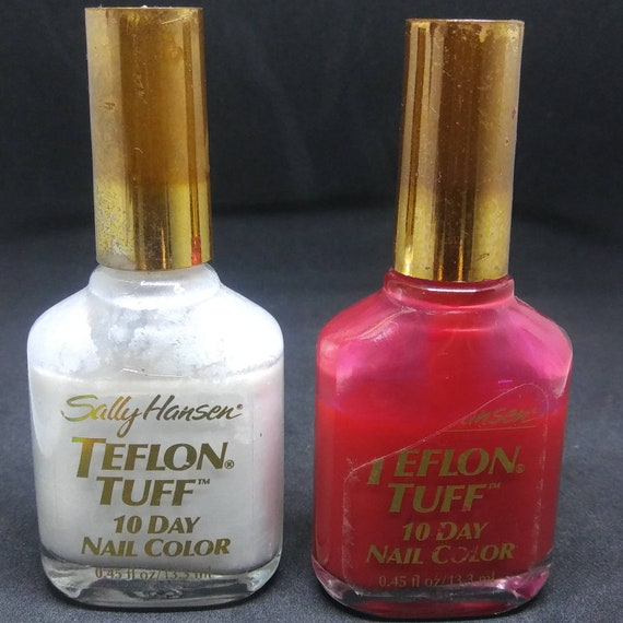 Vintage Nail Polish used Sally Hansen Teflon Tuff 46 soft blush frost or  Big Apple Red Creme gold lid