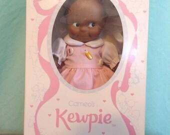 Dark skinned Cameo's Kewpie doll by Jesco in box 1985 school girl marm back to class classroom teacher gift