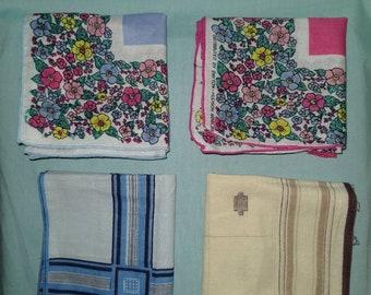 Vintage handkerchief bandanas blue brown pink square textiles